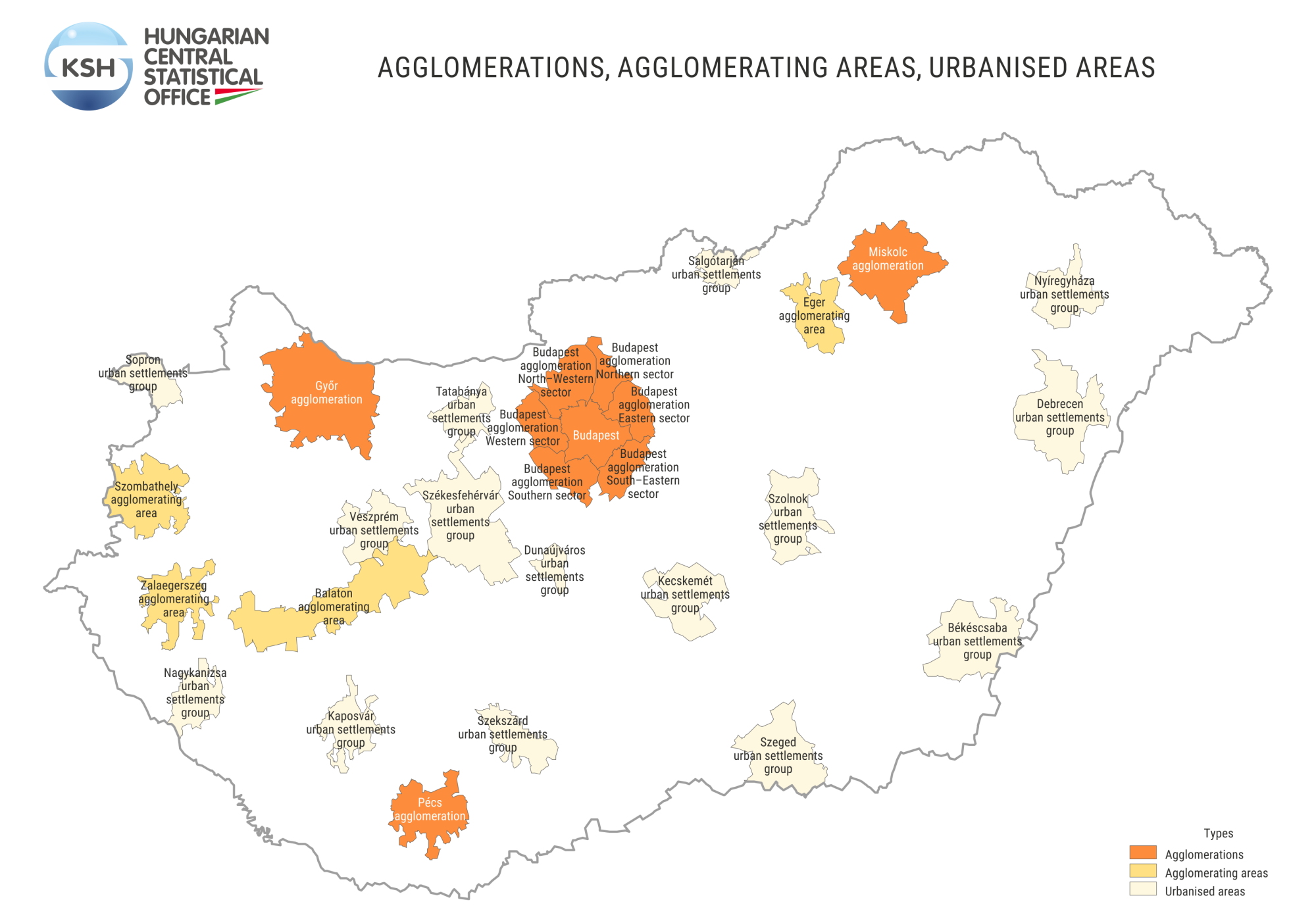 Settlement groups, agglomerations, agglomerating areas
