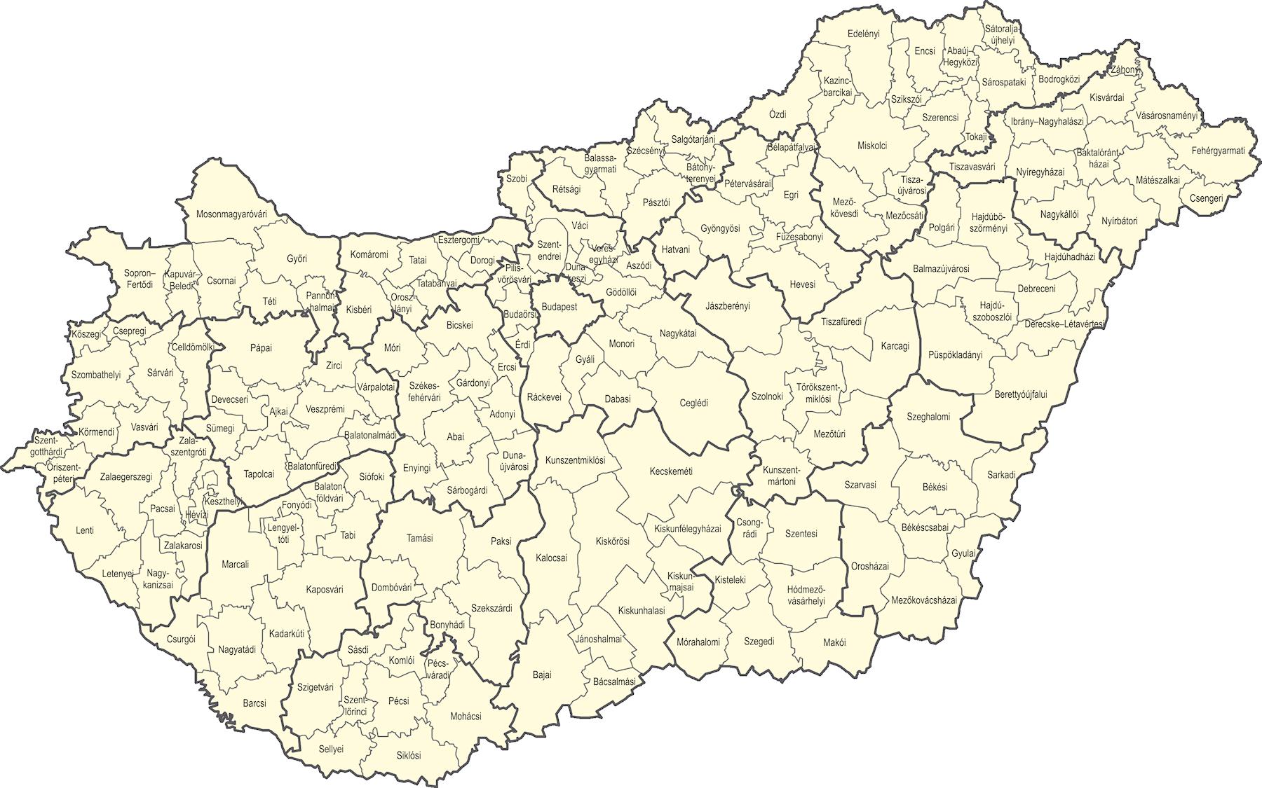 magyarország kistérségei térkép Központi Statisztikai Hivatal magyarország kistérségei térkép