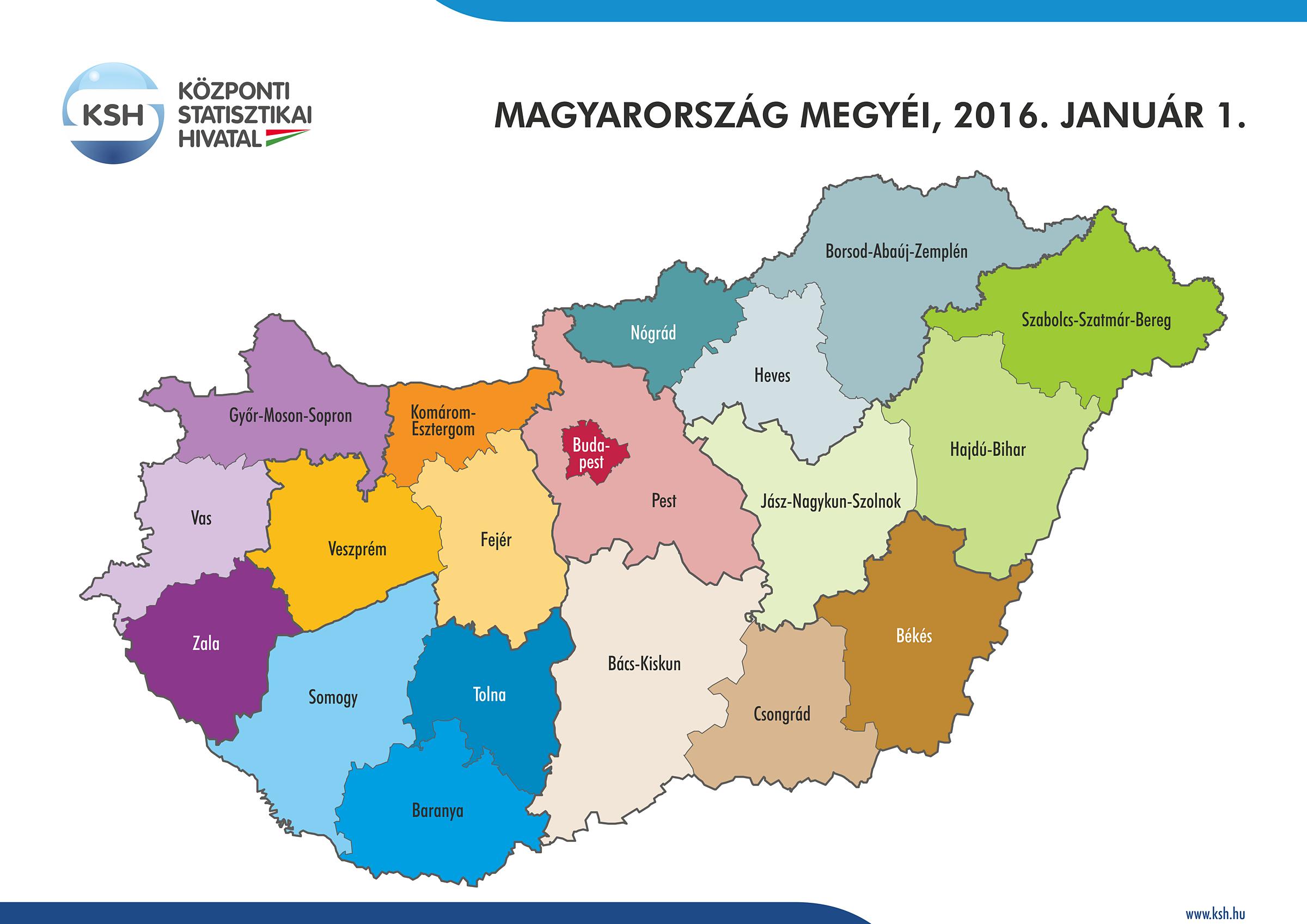 magyarország megyéi térkép Központi Statisztikai Hivatal magyarország megyéi térkép