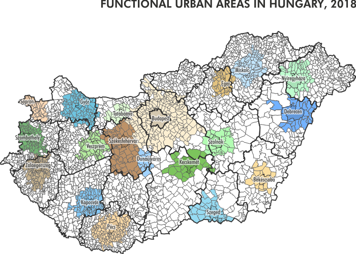 Functional urban areas in Hungary, 2018